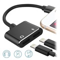 Adaptador Lightning 2-en-1 Audio & Carga - Negro