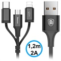 Cable USB 3-en-1 USB Cable - Lightning, Type-C, MicroUSB - Negro