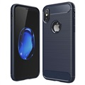 iPhone X Brushed TPU Case - Carbon Fiber - Dark Blue