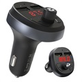 Hoco E41 Dual USB Car Charger & Bluetooth FM Transmitter - Black