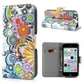 Funda de Cuero para iPhone 5C - Estilo Cartera - Flores Coloridas - Blanco