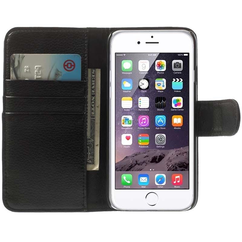 e1fadd26415 Funda de Cuero con Clip de Cinturón para iPhone 6 / 6S - Estilo Cartera -  Negro